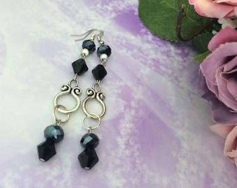 Earrings ' ear romantic long black beads