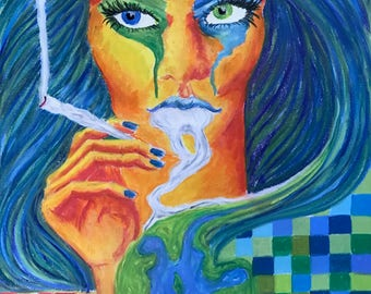 Wall art depiction of Mother Earth smoking
