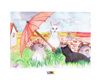 "Watercolor ""3 cats under the Red umbrella"""