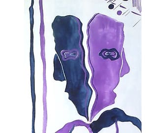 "Symbolic and abstract watercolor and acrylic painting ""Face and profile"""