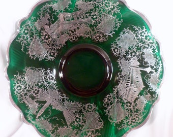 Very Rare Forest Green Swirl Cake Plate, Silver Overlay Depicting Buildings, Scalloped Silver Rim
