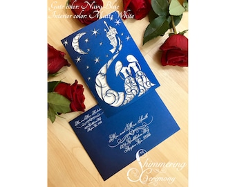 Fairytale starry night laser cut wedding invitation blue night with moon two brides fairy tale castle