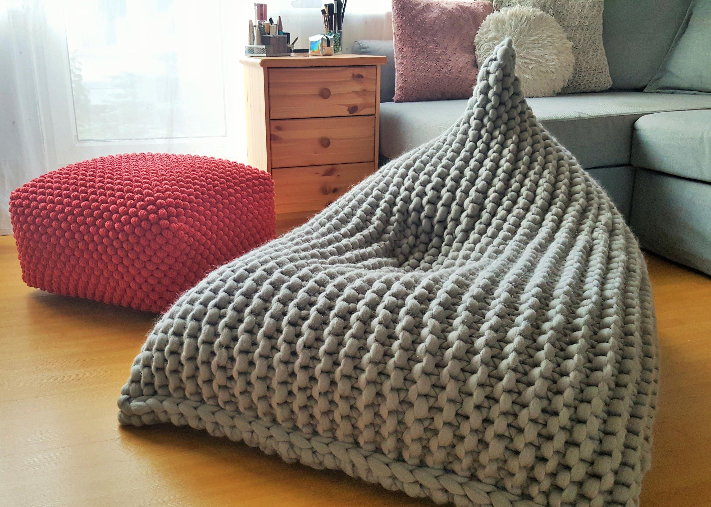 Chunky Merino Wool Light Grey Knitted Kids Adult Bean Bag