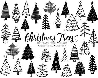 Christmas Tree Clipart. Hand Drawn Christmas Doodles. Winter Fir Tree Images. Black Christmas Illustration for Gift Tags, DIY Christmas Card