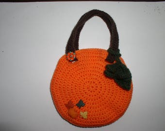 bag crocheted acrylic yarn in pumpkin