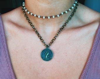 Bronze Coin Curblink Necklace