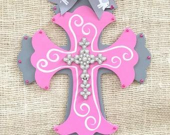 Gray and pink decor - nursery decor - gray and pink nursery - baby room decor - elephant nursery- hand painted cross - girly cross