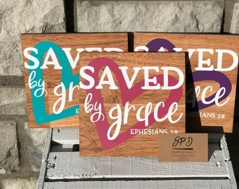 Saved By Grace Ephesians 2:8 - Scripture Rustic Wood Sign - Motivational Rustic Wood Sign - Farmhouse Home Decor