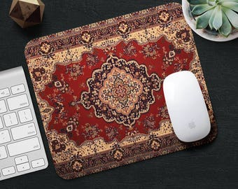 Persian Rug Mouse Pad Red Rug Mouse Mat Geometric MousePad Desk Accessories Rectangular Mouse Pad Style Mouse Mat Persian Carpet Mouse Pad