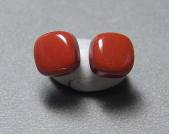 10mm Red Jasper Cushion Gemstone Post Earrings with Sterling Silver