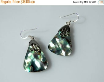 40% OFF Green Paua Shell and Sterling Silver Drop Earrings
