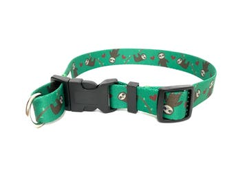 EXCLUSIVE! Safe Cinch basic flat Dog Collar Hank the Sloth Green Print nylon with d-ring adjustable X-Small Small Medium Large X-Large XL