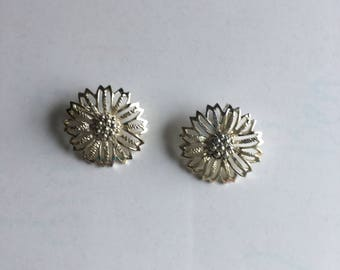 Vintage Earring Silver Flower Sarah Covenchy