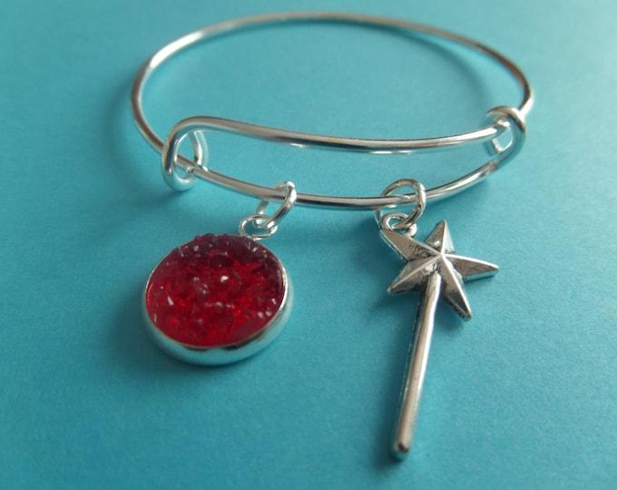 Dorothy bangle, wand bangle, oz bangle, oz bracelet, red shoes gift, wand bracelet, oz party favors, wizard oz gift, xmas stocking,