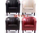 PN Homewares Set of 2 Bonded Leather Tub Chair Armchair for Dining Living Room Office Reception Home Tub Chair