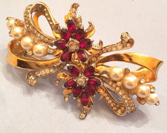 Stunning vintage coro duette floral spray with rhinestones and pearl