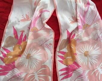 SALE Oscar de la Renta Silk Scarf 51 x 10 Pink Peach Floral Flowers