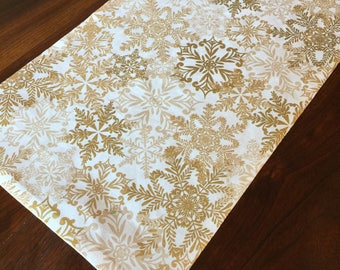Gold and Rose gold snowflake table runner- metallic gold, rosegold