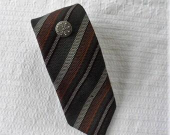 VINTAGE 1970s Diagonal Striped Reine Wool Tie Made in Germany/Dress Tie/Vintage New Tie/Woolen Tie For Men/Suit n Shirt Accessory 4 Men