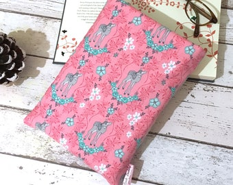 Pink Fawn Book Buddy, Small Medium Large Book Sleeve, Book Lover Gift, Deer Stag Book Pouch, Paperback Cover, Cute Book Sleeve, Bookworm Bag