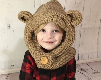 Bear Hooded Cowl - Bear Hoodie - Hooded Cowl - Knit Hood - Knitted Hood - Cowl Hood - Hooded Bear Cowl - Toddler Hood - Child Hood - Adult