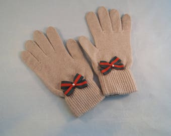 Clear Wool Gloves with Handmade Bows