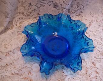 Fenton Blue Cabbage Rose Ruffled Edge Bowl