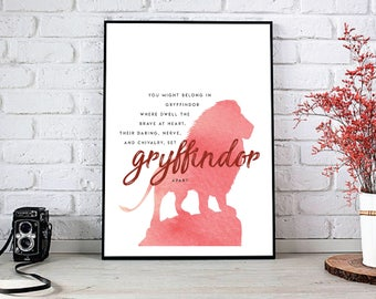 Harry Potter 'Gryffindor' Printable INSTANT DOWNLOAD