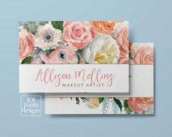 Floral business card design custom business card flowers printable business card design white gold hairdresser botanical pink roses