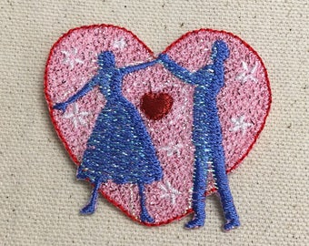 Pink Heart - Valentine - Dancing Couple  - Iron on Applique - Embroidered Patch - 154892-A