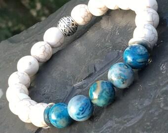 Blue and white bracelet; blue crazylace agate bracelet; magnesite bracelet; men's bracelet; women's bracelet; stone bead bracelet