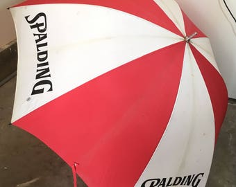 Vintage Spalding Sports Umbrella Red and White Large Beach Sunshade Memorabilia Branding Marketing 1980s