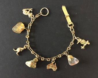 Vintage Australian Charm Bracelet Souvenir Gold Plate Country Koala Kangaroo Kookaburra Kids Charms Stones Gift for Child