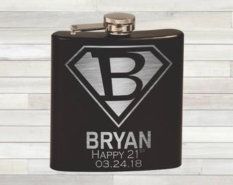 Superman Birthday Flask. Happy 21st. Custom Superman Inspired Engraved Flask. Superhero Birthday. Congratulations Gift. 21st Birthday.