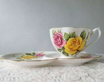 Queen Anne Roses Teacup Tennis Set