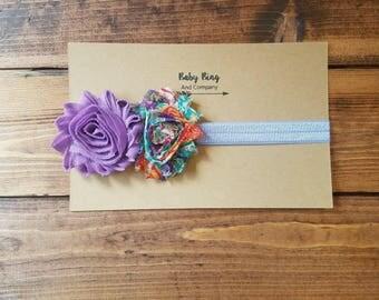 0-6 month purple baby headband, multicolor flower baby headband, newborn bow, photo prop, baby girl shabby flower headband