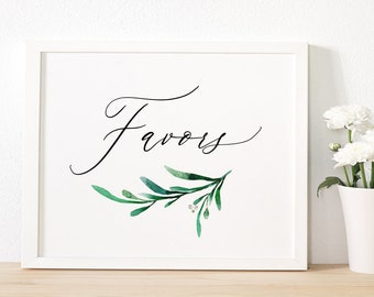 """Greenery Favor Sign Wedding Favour Sign Printable Favor sign Printable """"Wedding Greenery"""" Wedding Signage, 8x10"""" Download and Print - PDF"""