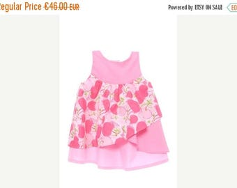 SALE Baby girl summer dress in pink with godet printed cherries