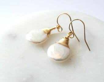 Fresh water pearl earrings...14k gold filled ear hook...gold dangle/drop earrings. UK seller