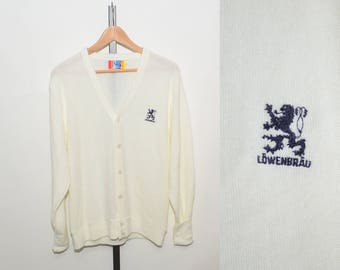 Vtg 70s Löwenbräu Germany Beer White Cardigan Men's Sweater | Vintage Lowenbrau Munich Brewery Cardigan