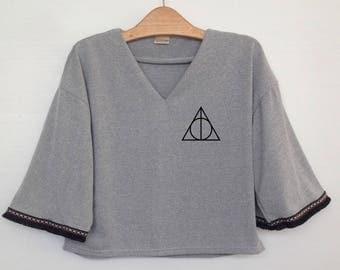 Deathly Hallows Crop shirt womens tops indie style teens crop shirts pocket tshirt