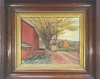 Vintage Signed Original Oil Painting Landscape With Barn & Farmhouse By Sally Mix