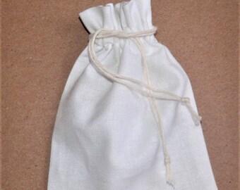 """25 Cotton Bags * Drawstring White Cotton Bag * Large Canvas Pouch * 7"""" x 8.6"""" (18cm x 22cm)"""