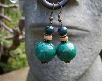 Wooden Beaded Earrings. Beaded Earrings. Turquoise Earrings. Boho Earrings. Chunky Earrings. Lightweight Earrings. Festival Earrings. Ethnic