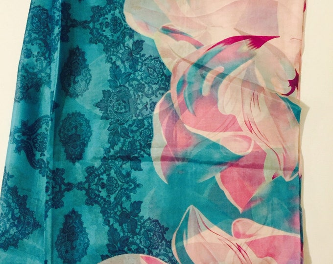 Silk Scarf- Blue Background with Pink Flowers-74 inches x 35 inches