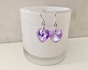 Violet Heart Earrings, Purple  Xilion, Sterling Silver, Swarovski Elements Crystal, Heart earrings, Bridal, thehappylittlebeader