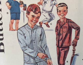 Butterick 2341 boys pajamas size 2 or size 10 vintage 1960's sewing pattern