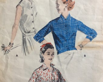 Butterick 7589 junior misses blouses size 13 bust 31 vintage 1950's sewing pattern