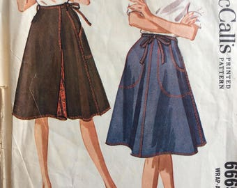 McCall's 6665 misses wrap skirt size small or medium vintage 1960's sewing pattern