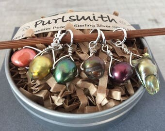 Forest Mix Freshwater Pearl & Sterling Silver Stitch Markers for Knitting,Set of 6,Knitting Notions, Gift for Knitter